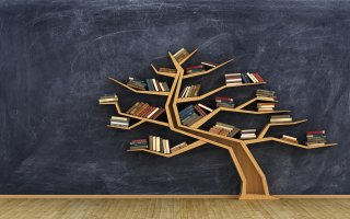 books on a tree shelf