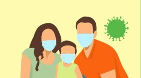 family with masks